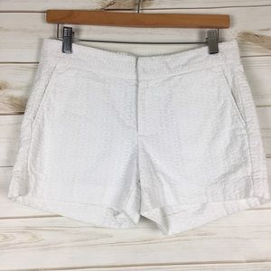 Hampton Fit white cotton embroidered shorts